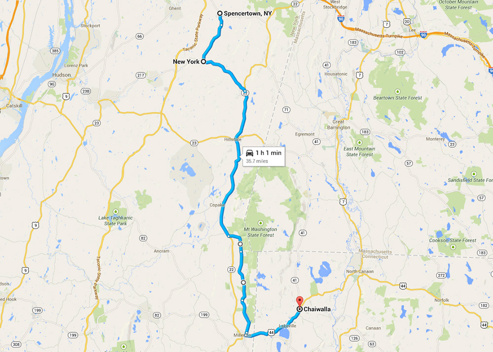 Maps of motorcycle route form Spencertown To Salisbury