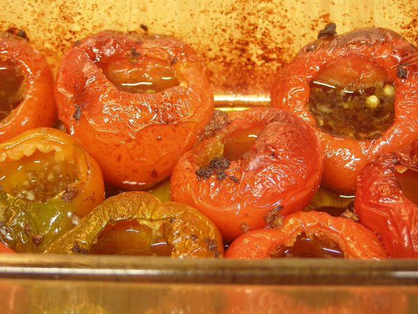 Roasted Hot Red Cherry Peppers with Balsamic Vinegar
