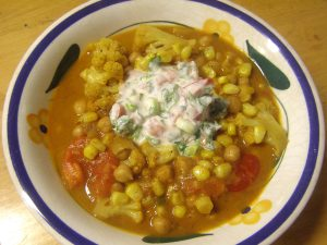 Tomato-Cauliflower Curry with Corn