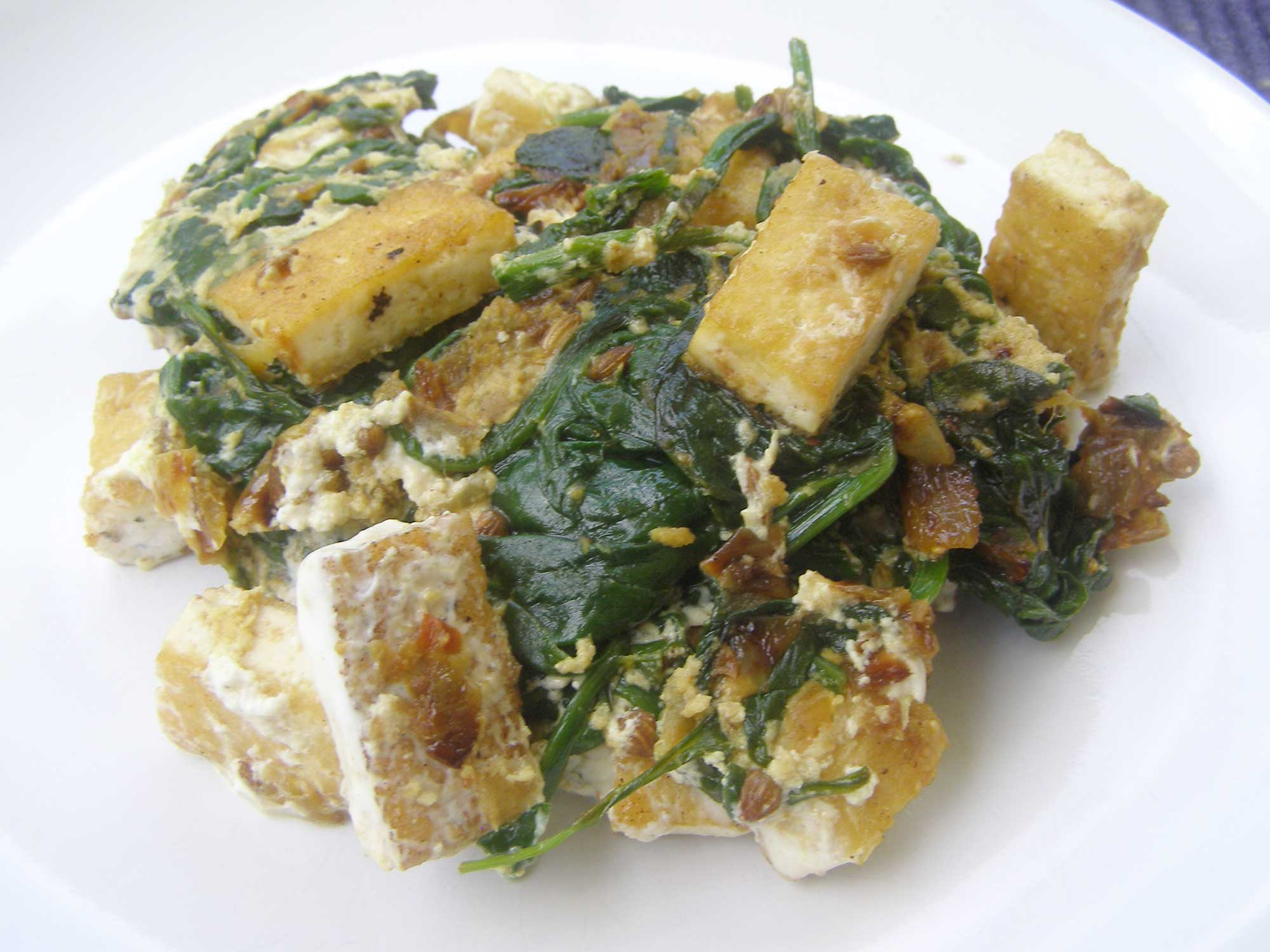 Tofu Saag Paneer (Tofu With Spinach, Ginger, Coriander and Turmeric) for one
