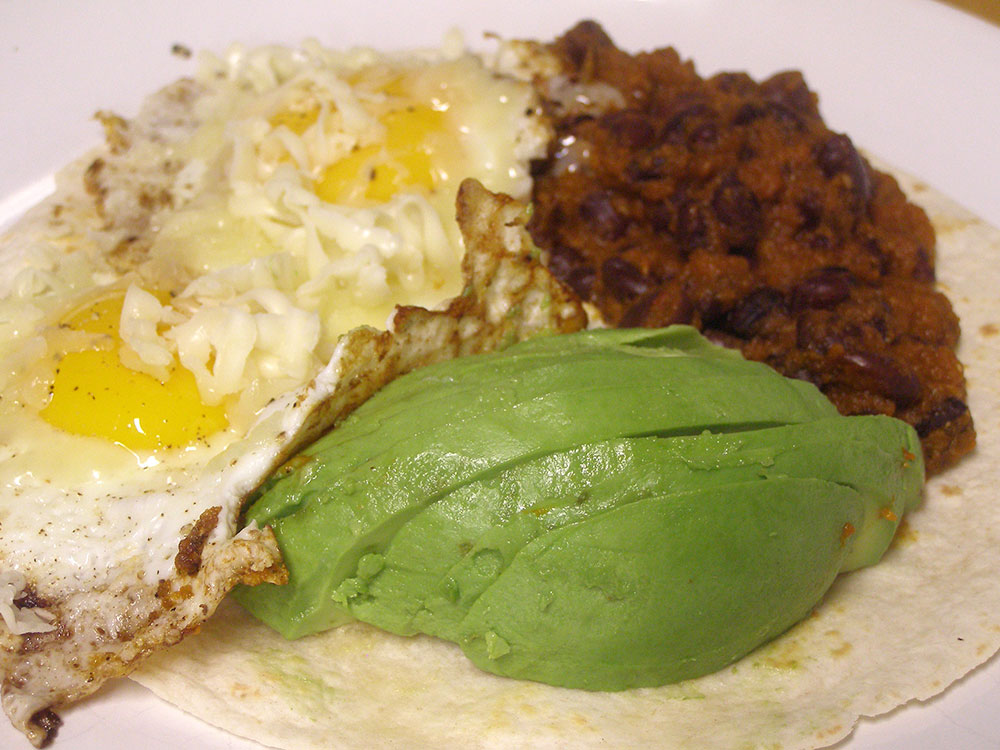 Homemade vegetarian huevos rancheros