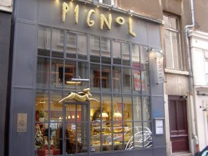 Exterior of Pignol Patisserie in Leon, France - home of France's best croissant
