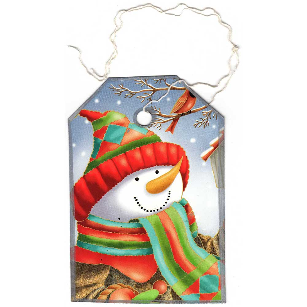 Colorful Christmas card made into a gift tage