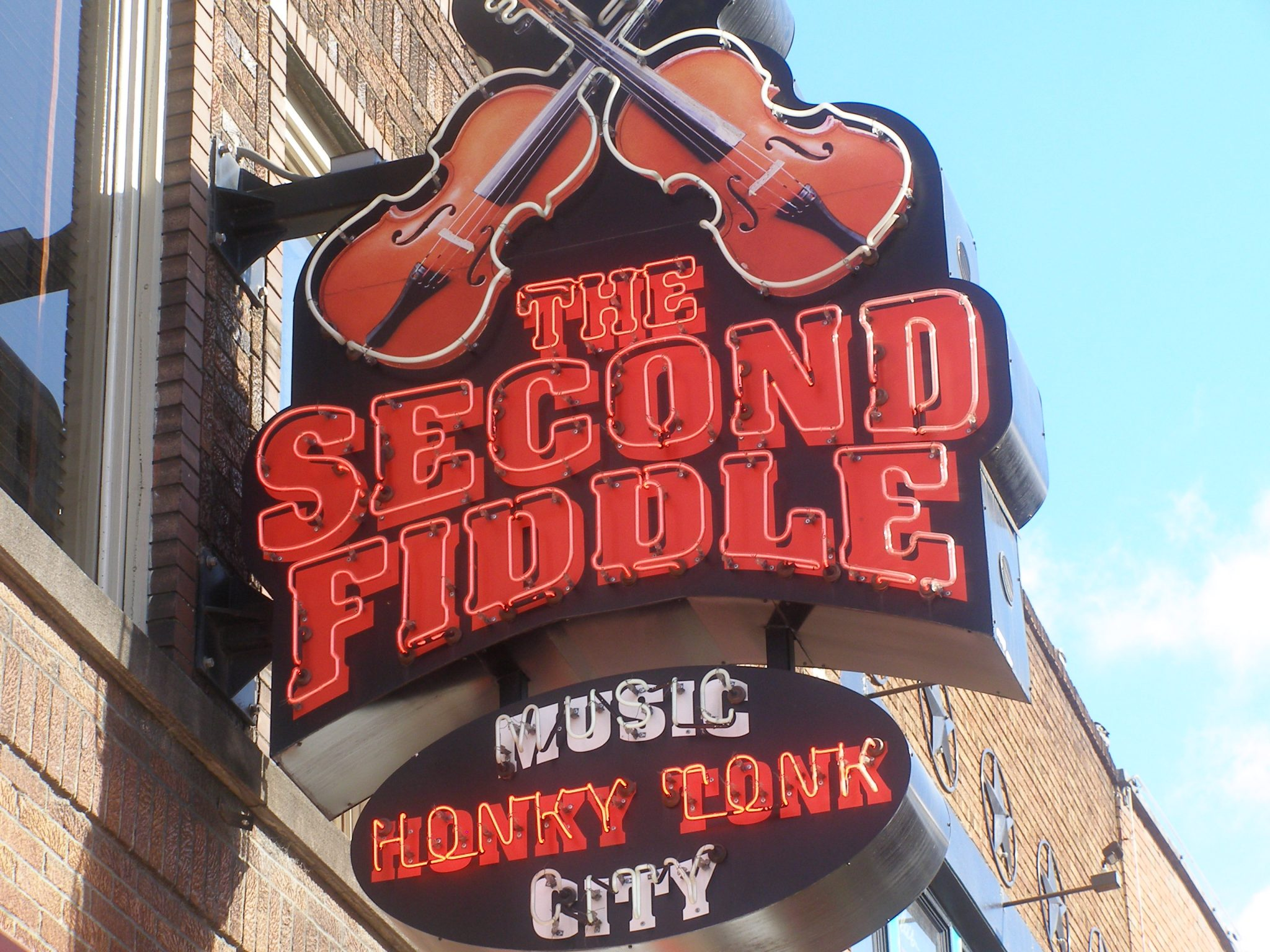 The Second Fiddle sign on Honky Tonk Highway in Nashville