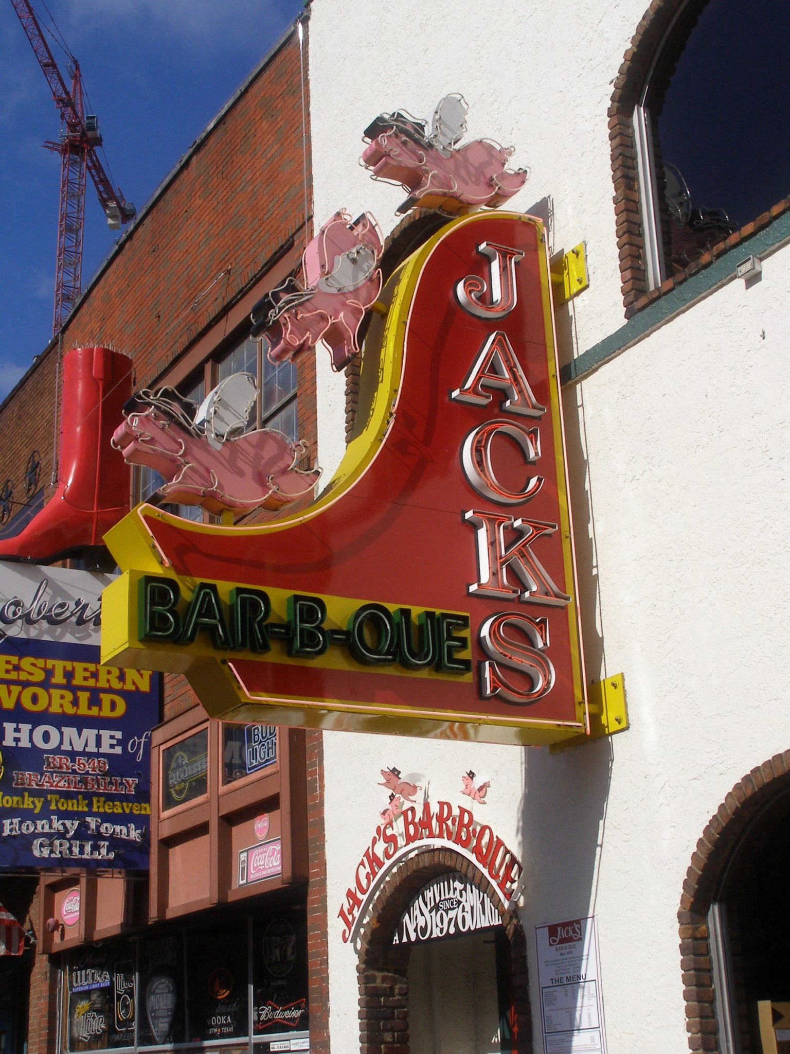 Jack's BBQ sign on Honky Tonk Highway in Nashville