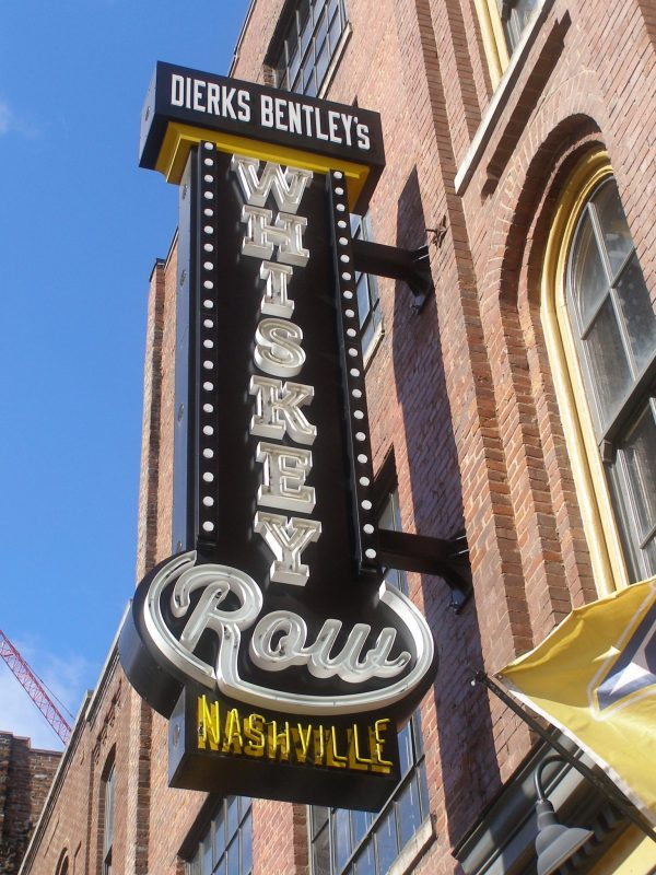 Whiskey Row sign on Honky Tonk Highway in Nashville