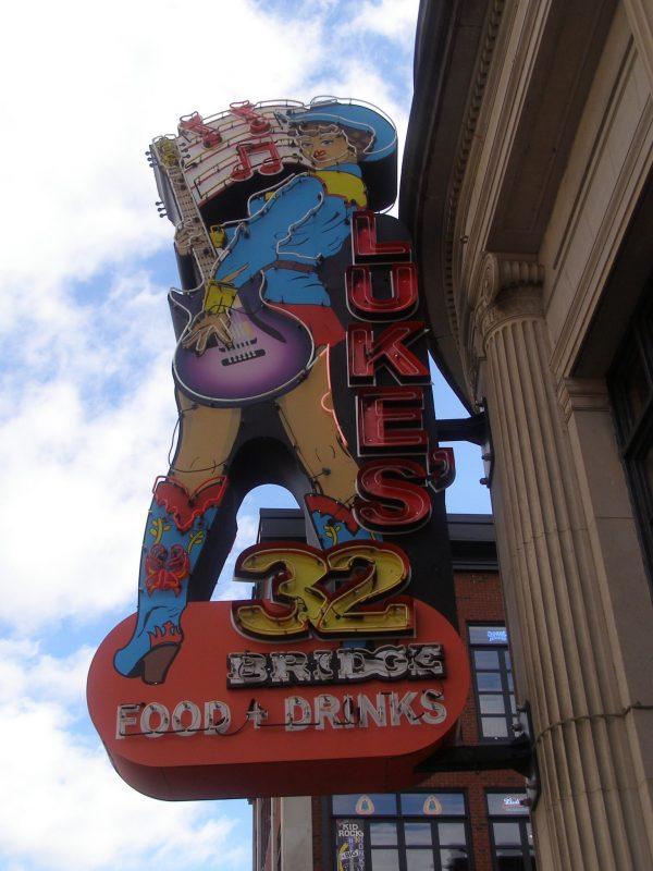Luke's 32 sign on Honky Tonk Highway in Nashville