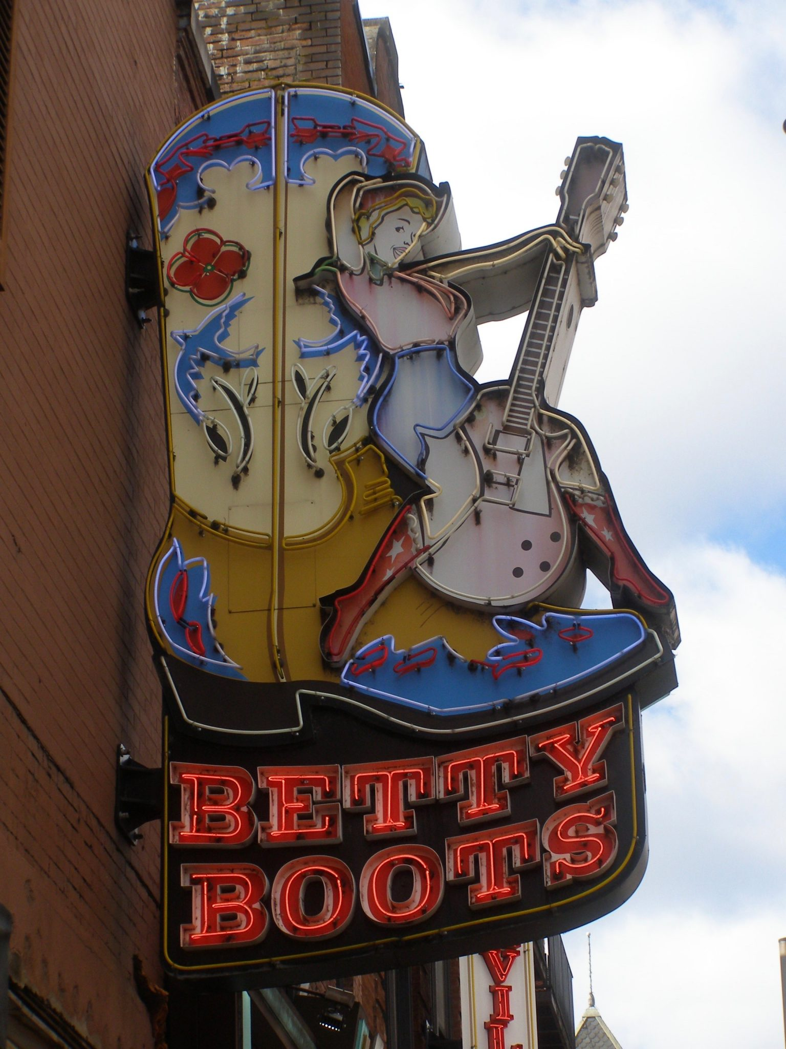 Betty Boots sign on Honky Tonk Highway in Nashville