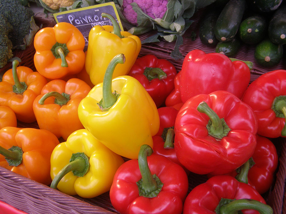 Sweet bell peppers in a market in Lyon