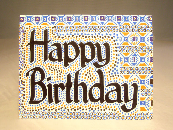 Handmade Happy Birthday Card hand drawn Suzanne Trevellyan