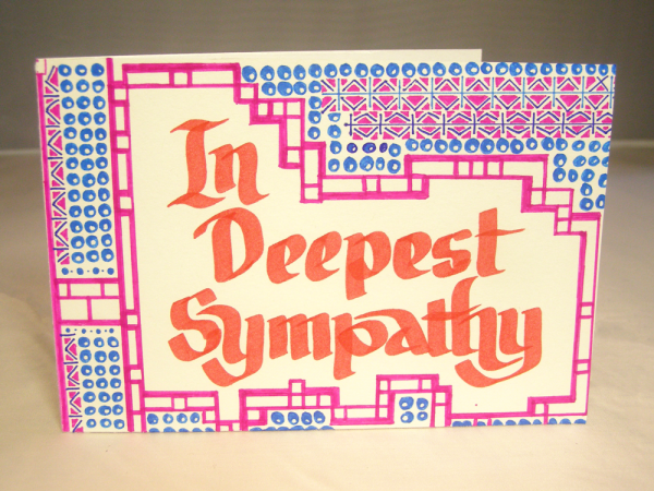 Handmade In Deepest Sympathy Card hand drawn Suzanne Trevellyan
