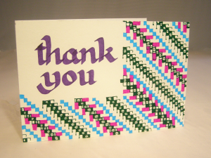 Handmade Thank You Card hand drawn Suzanne Trevellyan