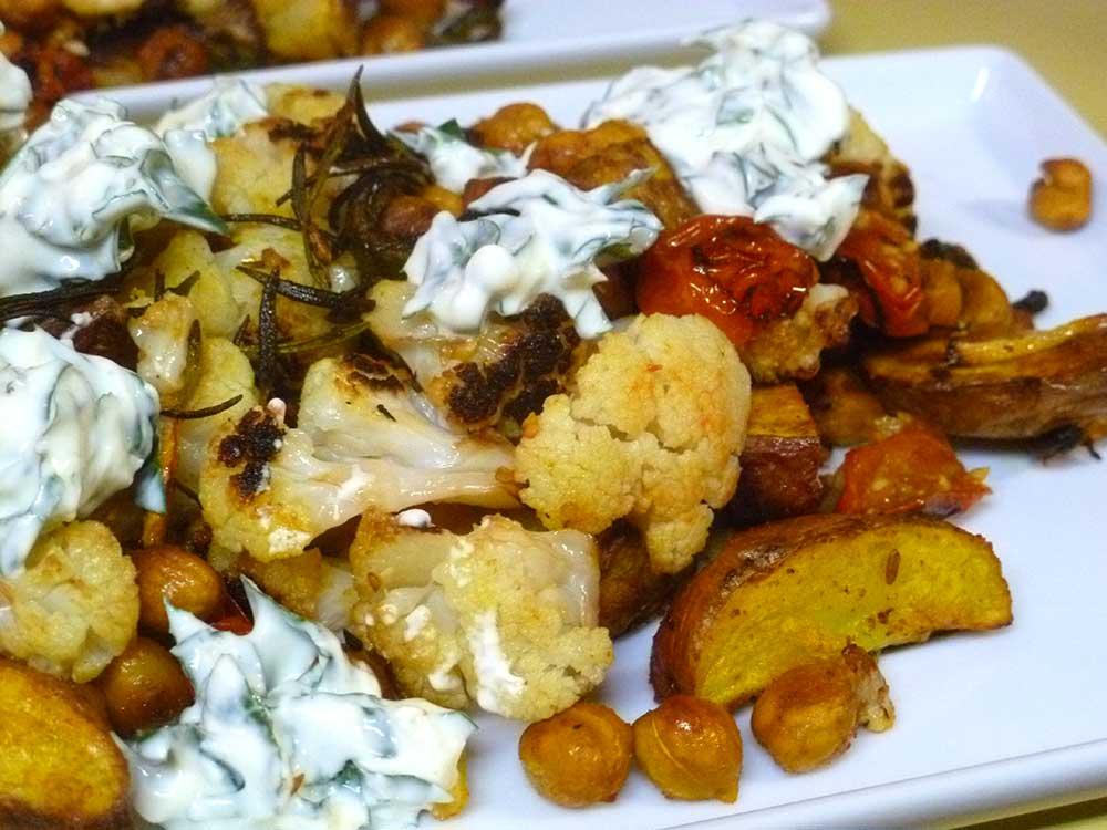 Spiced Chickpeas with Cauliflower and Roasted Lemon